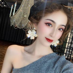 奢華高級感夸張水晶花朵耳環2020新款潮歐美韓國網紅氣質大耳釘女