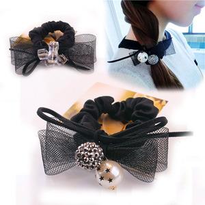 韩款简约发圈珍珠蕾丝水晶球球头花发饰头饰品时尚扎头发皮筋头绳
