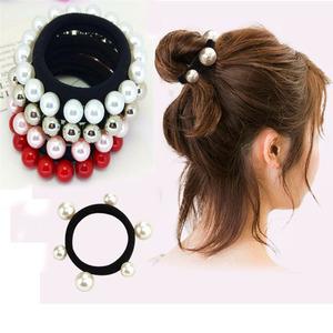 韩国时尚简约丸子头橡皮筋大小珍珠发圈发绳满珠钉珠头绳扎头饰品