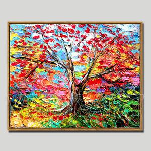 三生三世十里桃花 唯美绚烂风景油画餐厅装饰画卧室挂画玄关树画