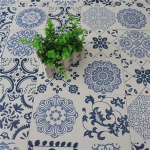 中式青花瓷花砖300花片仿古砖厨卫生间墙砖地中海蓝色小花瓷砖图片
