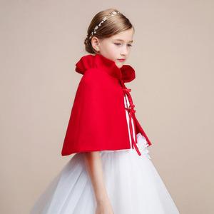 红白黑色儿童披肩小坎肩斗篷披风秋冬女童公主晚礼服外套毛呢披肩