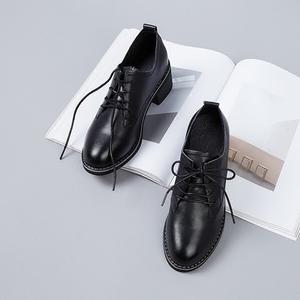 黑色小皮鞋女英倫風女鞋真皮粗跟中跟複古系帶百搭學院風chic單鞋
