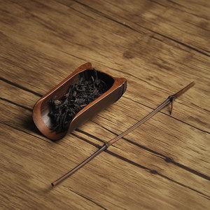 不漏齋日式五年老竹茶撥茶則小茶勺兩件套碳化竹木茶道組茶藝配件
