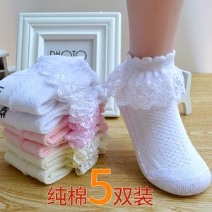 兒童花邊襪春秋冬季中筒蕾絲女童公主白色舞蹈襪冬季寶寶襪子純棉