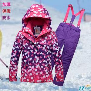 valianly滑雪服儿童套装防水衣女户外防寒服加厚保暖棉服单板双板