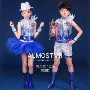 六一儿童节爵士舞演出服装少儿现代舞表演服?#20449;?#31461;街舞亮片舞蹈服