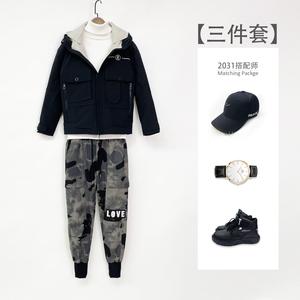 【三件套】男士连帽刺绣夹克羽绒服外套+迷彩小脚裤+高领毛衣