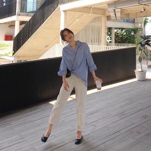 MALI/2019春季新款衬衫女设计?#34892;?#20247;韩版竖条纹蓝色宽松洋气上衣