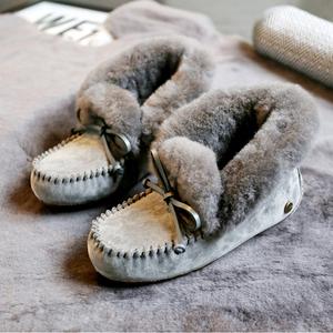 【莫拉塔】秋冬新款雪地靴女羊皮毛一體真皮短筒棉靴豆豆鞋毛毛鞋