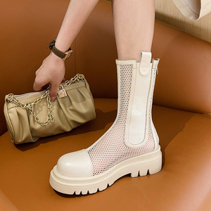 白色网纱马丁靴女厚底2021夏季真皮镂空网眼高筒靴透气松糕凉靴40