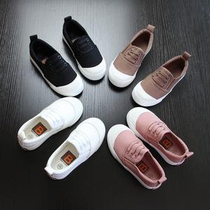 儿童帆布鞋男童一脚蹬懒人童鞋女童布鞋2019春秋新款儿童小白鞋潮