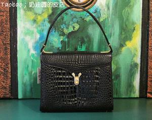 特价 真鳄鱼皮 奶油圆vintage法式复古稀有中古单肩手提女士包袋