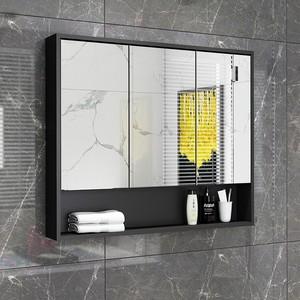衛生間掛墻式鏡柜廁所收納柜帶燈帶置物架浴室柜鏡子實木鏡箱壁掛