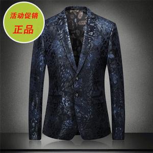 印花西服男修身免烫韩版小西装个性平绒西服2017春款男士休闲外套