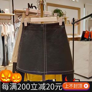 193273A512阿依莲正品女装2019秋装新款商场同款PU皮裙半身短裙