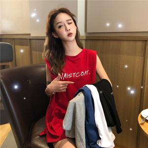 春夏2020新款韩版宽松bf小个子休闲背心女网红洋气无袖T恤上衣潮