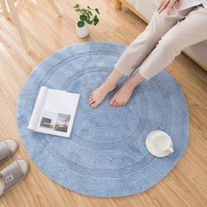 全棉圓形地墊吊籃客廳臥室床邊書房電腦椅轉椅地毯簡約純色加厚