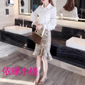 2019春秋季新款韩版女潮清新甜美中长裙蕾丝袖衬衫两件套