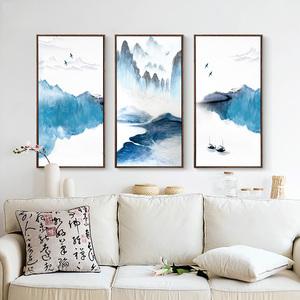 新中式客厅沙发背景墙装饰画水墨山水画现代简约挂画竖版壁画三联
