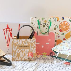巨門文具 卡通禮品手提紙袋純色牛皮紙袋購物袋 收納袋 禮品紙袋