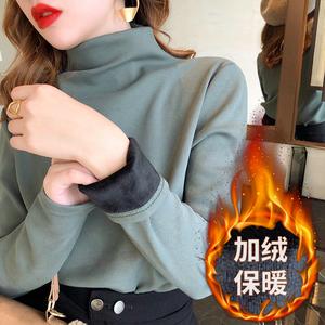 2019秋冬新款加绒打底衫女宽松加厚保暖t恤半高领时尚长袖打底衫