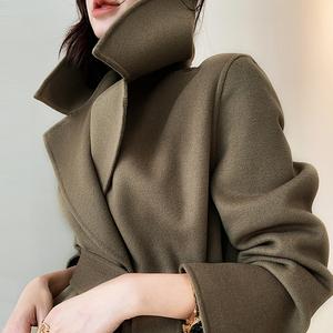 双面羊绒大衣女2019年新款秋冬装长款宽松过膝高端腰带羊毛呢外套