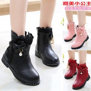 儿童靴子女童短靴秋冬季2019新款韩版真皮加绒小女孩雪地靴中大童
