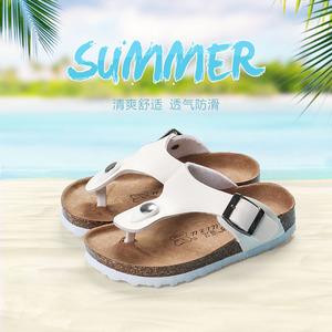 夏季親子兒童拖鞋時尚男童軟木鞋女童涼鞋潮沙灘防滑寶寶人字拖鞋