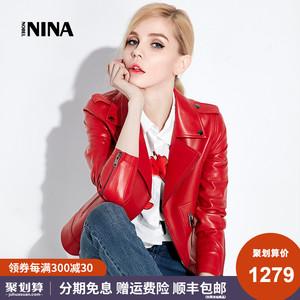 诺贝妮娜 红色小皮衣女短款修身春秋新款海宁真皮夹克绵羊皮外套