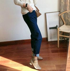 2019秋冬新款拉绒牛仔裤女直筒显瘦哈伦裤学院风减龄百搭韩ab1031