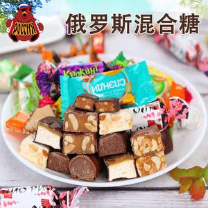 俄罗斯进口混合糖果紫皮糖牛轧花生杏仁混装糖巧克力喜糖散装500g