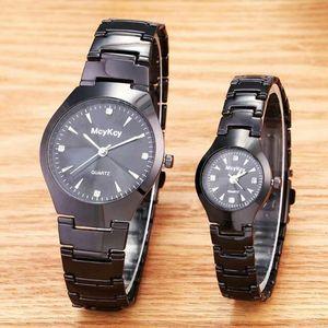 两个55元手表批发爆款情侣手表一对黑色钨钢钢带手表女士手表