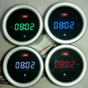 红日电子-12V 摩托车 汽车/铝壳防水数字电子钟/LED时间表/送支架