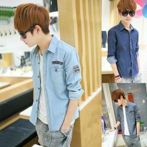 夏季超薄款男士长袖开衫外套韩版修身型牛仔衬衫青少年运动上衣服