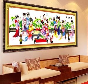 蒙娜麗莎精準印花琴棋書畫荷花版十字繡大幅客廳經典人物十二金釵