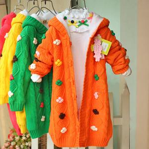 女童長款加絨厚毛衣2013貝蕾地女孩純棉保暖鉤花開衫粗毛線厚外套