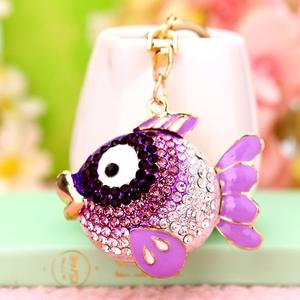 韩国创意礼品可爱水晶水钻小鱼汽车钥匙挂件包挂饰钥匙扣女钥匙链