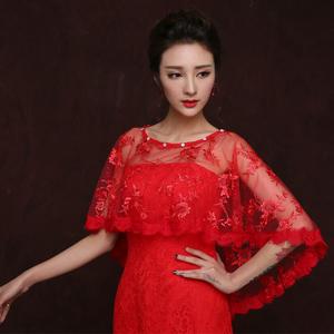 婚紗披肩蕾絲春秋夏季新娘薄款坎肩白色紅色禮服披肩女絲巾小外套