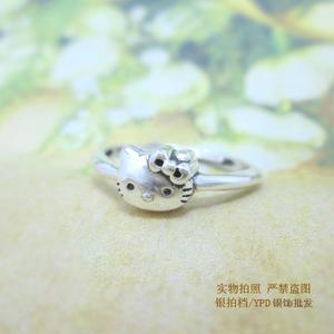 包邮 925纯银可爱Hello Kitty 猫 戒指 kT 猫头 指环 活口可调节