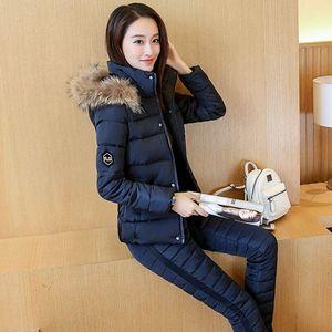 冬季套裝女裝2020新款韓版時尚短款棉衣女兩件套修身加厚羽絨棉服