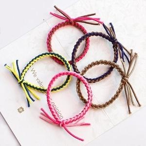 韩国饰品撞色手工编织小辫子发绳 高弹个性打结皮筋发圈头绳发绳