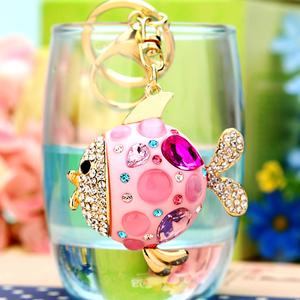 韩版水晶钻小鱼汽车钥匙扣女韩国可爱创意包包挂件钥匙链圈饰礼品