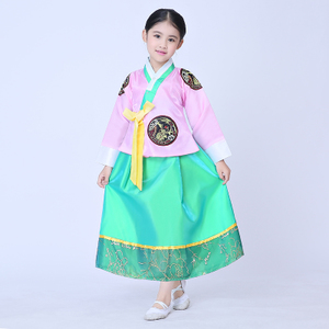 儿童韩服公主夏 女童朝鲜服古筝舞台演出服 舞蹈服韩国民族服古装