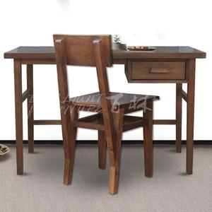 黑胡桃木色書桌電腦桌 抽屜寫字臺書房家具辦公桌 老紅松桌子定制