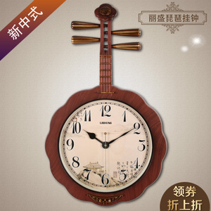 丽盛中式艺术壁挂钟创意静音中国风挂表客厅琵琶时钟表卧室石英钟