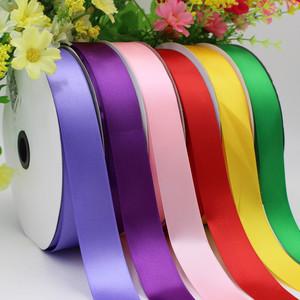 2.5cm寬亞光滌綸緞帶綢帶絲帶織帶頭花DIY材料高密度優質彩帶