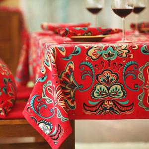 漢尚新中式圓桌布布藝全棉台布桌旗蓋布婚慶大紅喜慶節日婚房裝飾