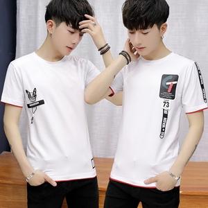 青少年夏季16纯棉短袖t恤男士15高中学生14潮流修身13岁男孩上衣图片