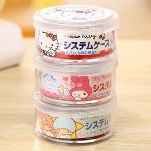 新款日韓可愛雙子星kt美樂蒂卡通迷你桌面收納盒圓形有蓋雜物盒
